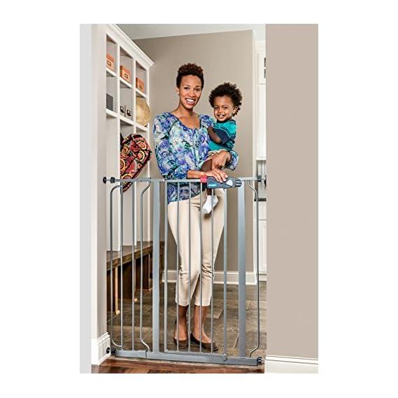 Regalo Easy Step 104 cm Extra Tall Walk Thru Baby Safety Gate (Platinum)