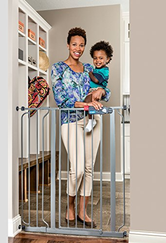 - Regalo Easy Step Extra Tall Walk Thru Baby Gate, Bonus Kit, Includes 4-Inch Extension Kit, 4 Pack of Pressure Mount Kit and 4 Pack of Wall Mount Kit, Platinum