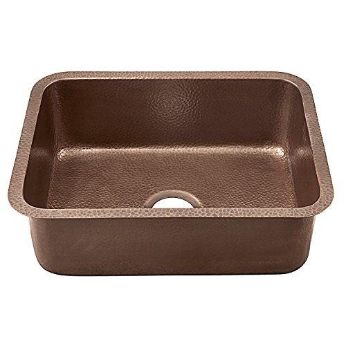 Sinkology SK201-23AC Classic Renero Undermount copper Sink 23 In. Single Bowl Kitchen Sink In Antique copper, 23, Hammered Antique Copper by Sinkology