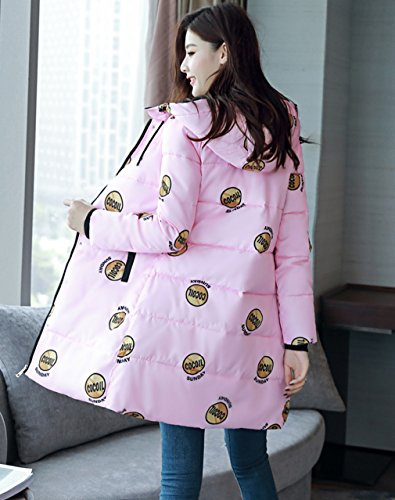Floral Quilted Womens Hooded Cotton Korean Down Coat Bigood Parka Jacket Pink wxnRq8n