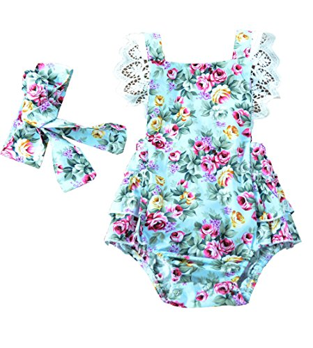 Newborn Kids Baby Girls Clothes Floral Outfits Set Lace Romper Suit Baby Headband (0-6M, Green)