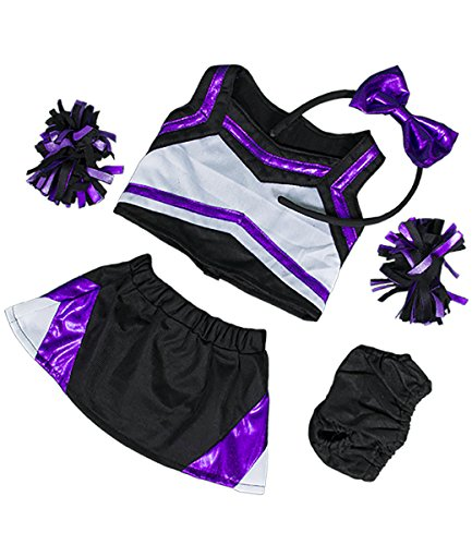 Metallic Purple & Black Cheerleader Teddy Bear Clothes Outfit Fits Most 14 - 18 Build-A-Bear, Vermont Teddy Bears, and Make Your Own Stuffed Animals by Stuffems Toy (Cheerleader Clothes)
