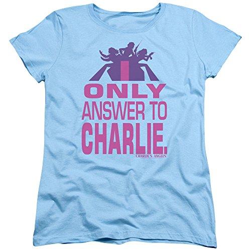 Trevco Charlies Angels Answer Womens Short Sleeve Shirt (Light Blue, Large)