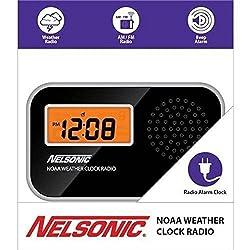 Nelsonic NOAA Weather LCD AM/FM Radio Alarm Clock Black