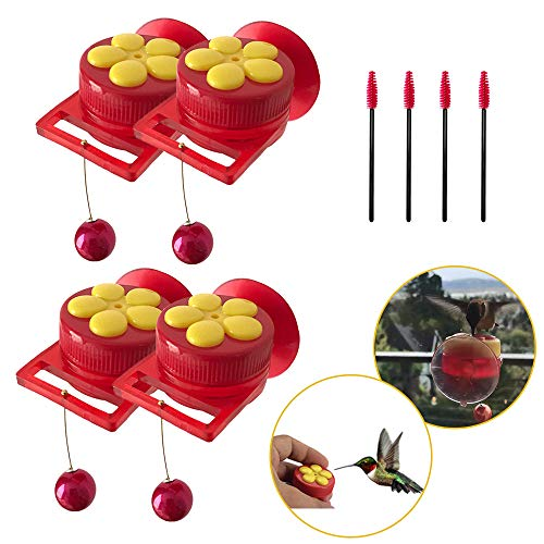 (Hummingbird Feeder Handheld Window for Outdoors Wild Humming Bird Feeders with Strong Suction Cups and Clean Brush, 4 Packs)