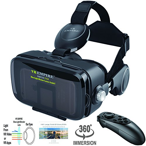 VR Headset Virtual Reality 3D Glasses Headset with VR Controller Remote 120° FOV, Anti-Blue-Light Lenses, Stereo Headset, for All 4.0-6.2 inch Smartphones such as iPhone & Samsung HTC HP LG etc.