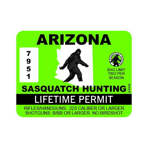 "RDW Arizona Sasquatch Hunting Permit - Color Sticker - Decal - Die Cut - Size: 4.00"" x 3.00"""