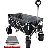 Eurmax Sports Collapsible Sturdy Steel Frame Garden/Beach Wagon/Cart with Big Wheels,Bonus 8x8Ft Picnics Mat(Stripe Black)