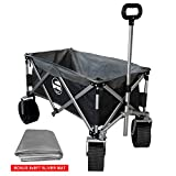 Eurmax Sports Collapsible Sturdy Steel Frame Garden Carts on Wheels Utility Beach Wagon Cart with Big Wheels,Bonus 8x8Ft Picnics Mat (Black & Gray)