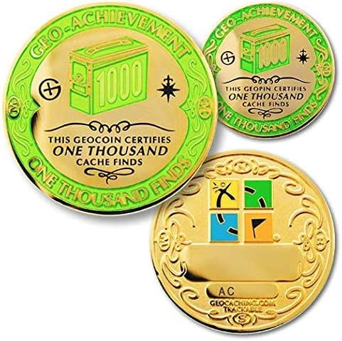 Coins For Anything Inc 1000 Finds Geo Achievement Set Challenge Coin Pin Trackable Geocaching Coin Home Kitchen