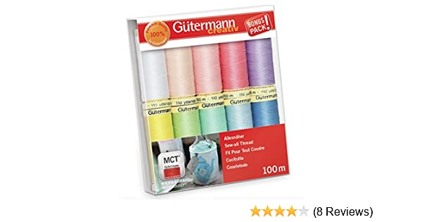 10 x Gutermann Assorted Pastel Colours Sew All Thread Reels Sewing Crafts 100m