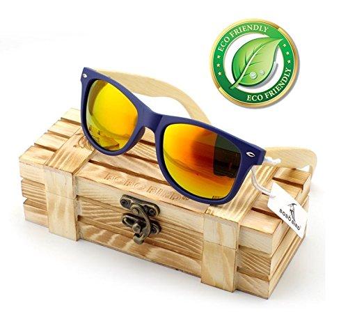 5f61ceee417 Amazon.com  BOBO BIRD Blue Frame Retro Fashion Wayfarer Wooden ...
