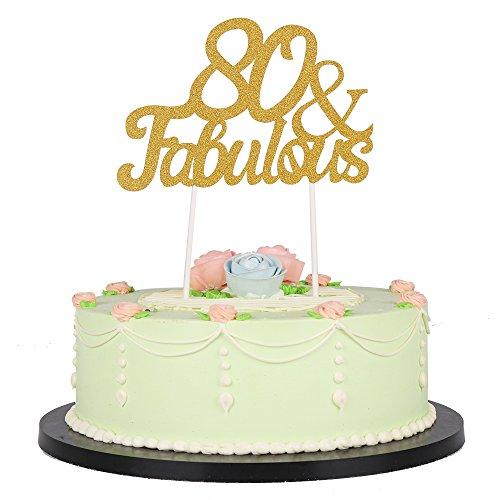 Gold Glitter Fabulous Cake TopperWeddingBirthdayAnniversary Party Decorations 80th