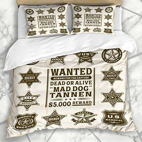 Ahawoso Duvet Cover Sets King 90x104 Police Western Vintage Sheriff Marshal Ranger Lawman Badges Star Texas West Wild Wanted Badge Microfiber Bedding with 2 Pillow Shams