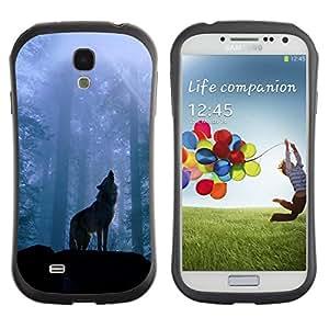 LASTONE PHONE CASE / Suave Silicona Caso Carcasa de Caucho Funda para Samsung Galaxy S4 I9500 / Nature Howling Wolf