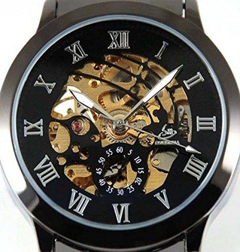 Shenhua Timelyo - Reloj automático deportivo para hombre, diseño réplica de lujo, acero, color negro: Amazon.es: Joyería
