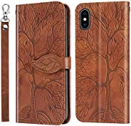 Miagon Embossing Cover for iPhone XS/X,Wallet PU Leather Magnetic Flip Case Tree Pattern Case Card Slots with