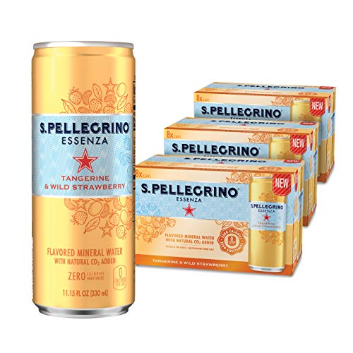 S.Pellegrino Essenza Tangerine & Wild Strawberry Flavored Mineral Water, 11.2 fl Ounce Cans (Pack of 24)