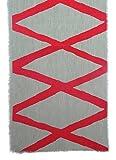 Gitika Goyal Home Windows Collection Cotton Khadi Grey Runners 105x12 Diamond Design, Red Hand Screen Print