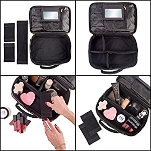 habe Travel Makeup Bag with Mirror - Fits ALL Your Makeup! Make Up Organizer Train Case for Women - Storage Capacity of 3 Cosmetic Bags/Cases - Adjustable Compartments (BONUS Make-Up Brush Cleaner)