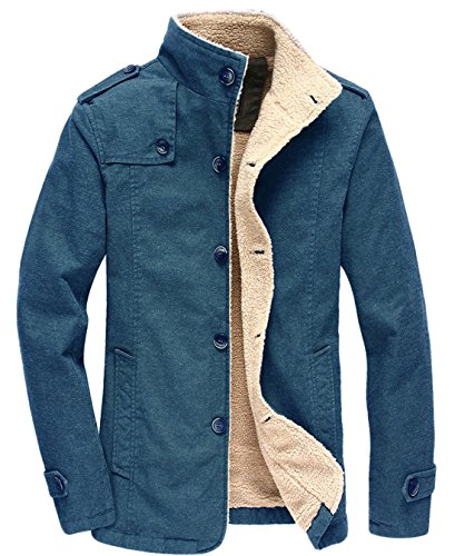 chouyatou Men's Military Button Front Sherpa Lined Heavyweight Trucker Jacket (Large, Blue) (Button Front Fur Jacket)