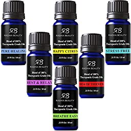 Radha Essential Oil Blends set - 100% Pure Therapeutic Grade oils kit for Aromatherapy Sea of Thieves, Stress Free, Rest & Relax, Breathe Easy, Pure Healing, Happy Citrus, great Gift - 6/10 ml