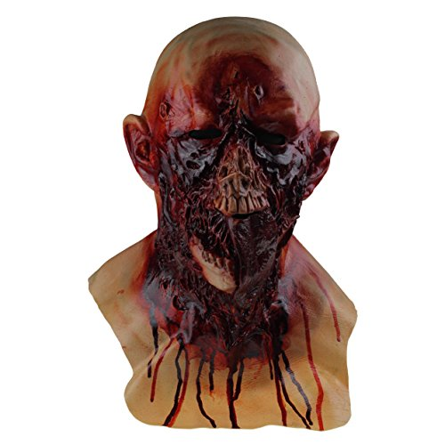 Scary Halloween Latex Bloody Zombie Melting Mask Cosplay Costume Full Overhead Latex Props]()