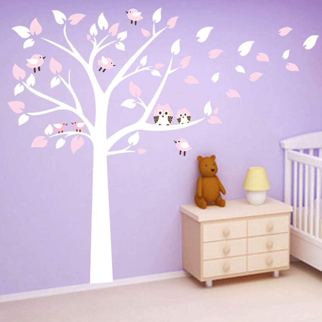 Blue jiulonerst Non-Toxic Cartoon Animal Wall Sticker,Owl Tree Branch Removable Wall Sticker Decal for Kids Baby Nursery Rooms Boys Girls Children Bedroom Living Room Home Decor