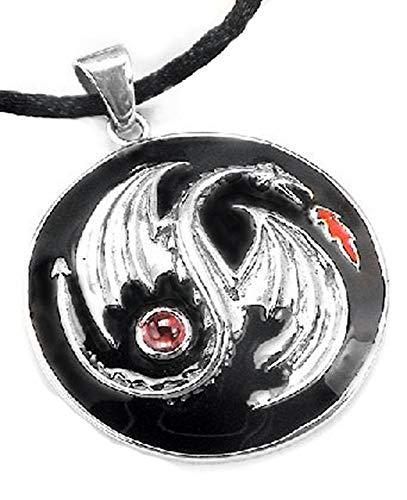 Sterling Silver and Garnet Yin Yang Black Enamel Dragon Medallion Pendant Necklace