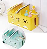 Grocery House Cable Management Storage Box Organizer for Power Strips, Surge Protector, TV Computer Cable, USB Hub (Yellow)