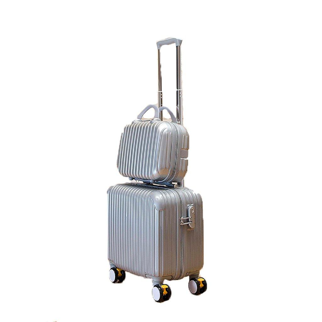 スーツケース トロリーケース4輪5色出張旅行アウトドアトロリーバッグ大容量トラベルバッグドラッグバッグハンドバッグトランク旅客ボックス18inch (色 : シルバー しるば゜)   B07FS6ZJH9