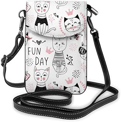 XCNGG bolso del teléfono Small Crossbody Cell Phone Purse Wallet with Credit Card Slots Lightweight Roomy Adjustable Shoulder Strap Cute Pink CAT Crossbody Bags Handbags for Women