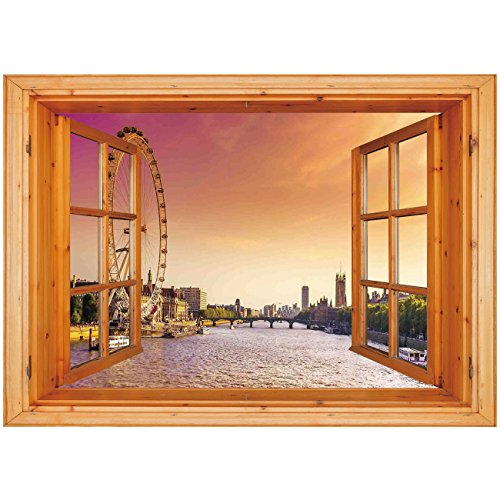 3D Depth Illusion Vinyl Wall Decal Sticker [ London,Sunset View Bridge on Thames River Ferris Wheel London Eye Big Ben Westminster,Peach and Pink ] Window Frame Style Home Decor Art Removable Wall Sti