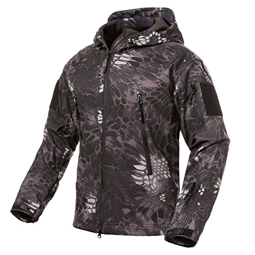 ReFire Gear Men's Soft Shell Military Tactical Jacket Outdoor Camouflage Hunting Fleece Hooded (Bronze Mens Shell)