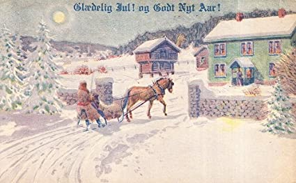 vintage unused postcard danish language merry christmas happy new year horse driven sleigh ride in - Merry Christmas In Danish