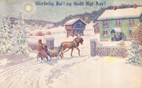 Vintage Unused Postcard Danish Language Merry Christmas Happy New Year Horse-Driven Sleigh Ride in Beautiful Snow Scene (Merry Christmas And Happy New Year In Danish)