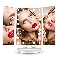 Schminkspiegel, HAMSWAN 3 Seiten Kosmetikspiegel mit 21 LED faltbar dimmbar 180 Grad einstellbar 1X 2X 3X, MEHRWEG
