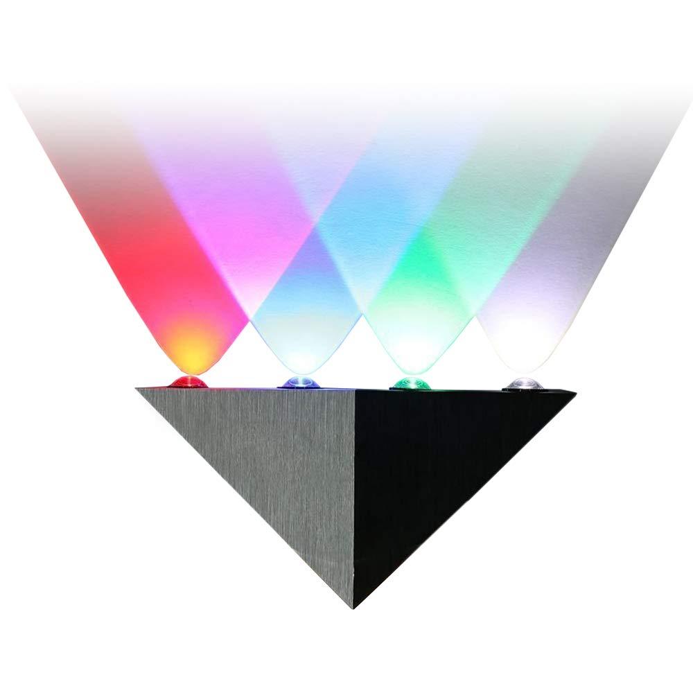 Lightess Led Wall Light Modern Sconce Up Down Spotlight Lighting Triangle Shape Mini Lamp for Theater Movie Room, Multiple Color 5W