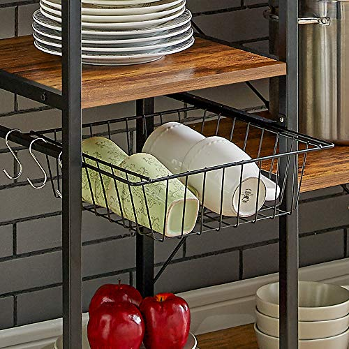 Mr IRONSTONE Vintage Kitchen Baker's Rack Utility Storage Shelf 35.5'' Microwave Stand 4-Tier+3-Tier Shelf for Spice Rack Organizer Workstation with 10 Hooks by Mr IRONSTONE (Image #4)