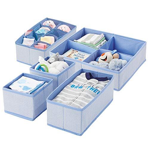 Juego de organizadores de almacenamiento de armario y cajones de tela suave mDesign para habitación de niños / bebés o guardería - Juego grande de 5 organizadores, impresión texturizada - Espiga azul