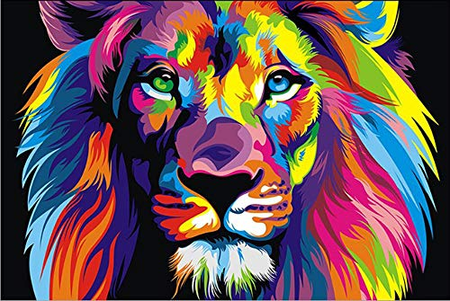 Paint By Number Kits Paintworks DIY Oil Painting for Kids and Adults Beginner, Colorful Animals Painting 16x20inch(Color Lion)