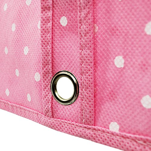 """Hangerworld 45"""" Breathable Zipped Polka Suit Clothes Garment Cover Bag, Pink & White"""