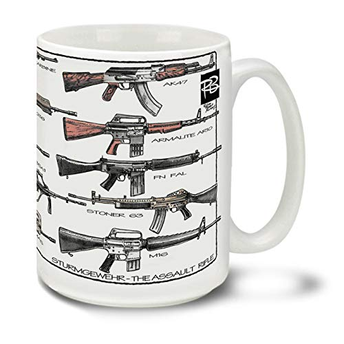 Cuppa Second Amendment Rights 15-Ounce Coffee Mug with Assault Rifles