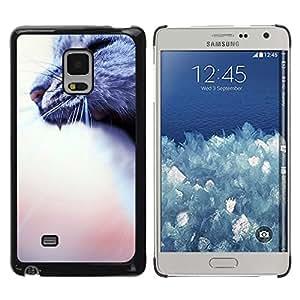 Bostezo Rugido Gato Gris Casa borrosa melocotón- Metal de aluminio y de plástico duro Caja del teléfono - Negro - Samsung Galaxy Mega 5.8