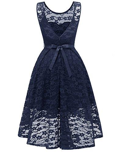 Courte Devant Mi Dentelle Robe Femme Vintage Florale en MisShow Bleu Longue AfZ8wqA