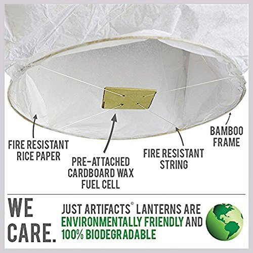 Just Artifacts 5 ECO Wire-Free Flying Chinese Sky Lanterns (Set of 5, Wire-Free Eclipse, White) - 100% Biodegradable, Environmentally Friendly Lanterns!
