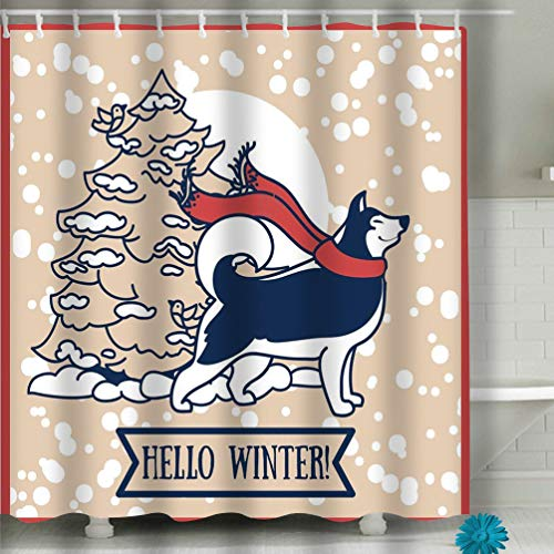 - Zhizhangshpoing Shower Curtain Card Winter Cute Siberian Husky Christmas Tree Vector Illustration 60 x 72 Inches