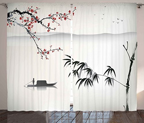 Ambesonne House Decor Collection, Chinese Waterscape Painting Artwork Print with Bamboo Sakura Trees Birds Boat River, Living Room Bedroom Curtain 2 Panels Set, 108X84 Inches, Black Gray