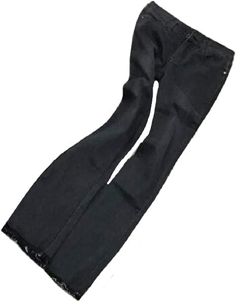 AngelSpace Women Simple Plain Stretchy Fabric Raw Hem Trousers Flare Denim Pants Jeans