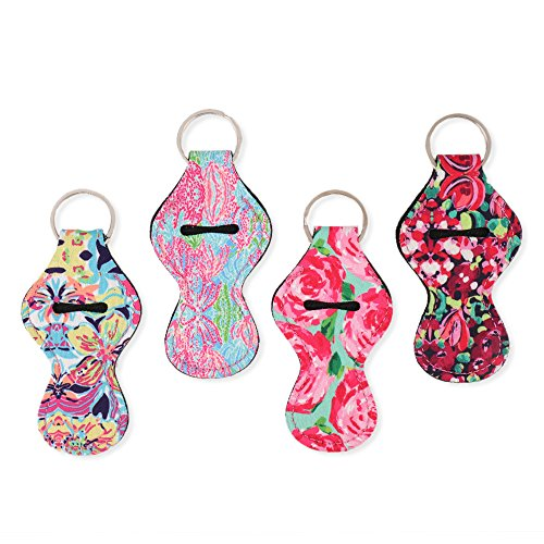 LAGUTE Lily Floral Pattern Chapstick Holder Key Chain, Lip Balm Holder Tracker, Gifts for Kids and Adults- Flower Style- 4 Pack Chapstick Holder